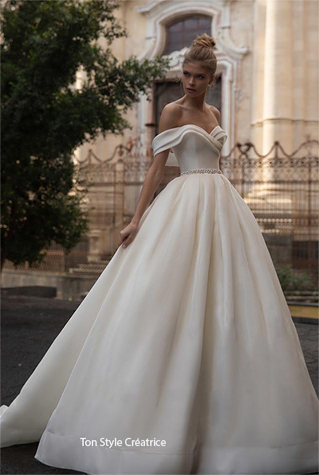 Robe princesse col marquise