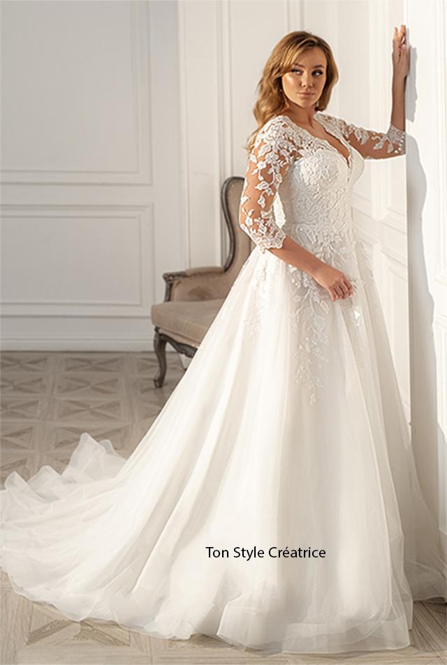 Robe de mariée princesse avec manche dentelle pas cher Gard