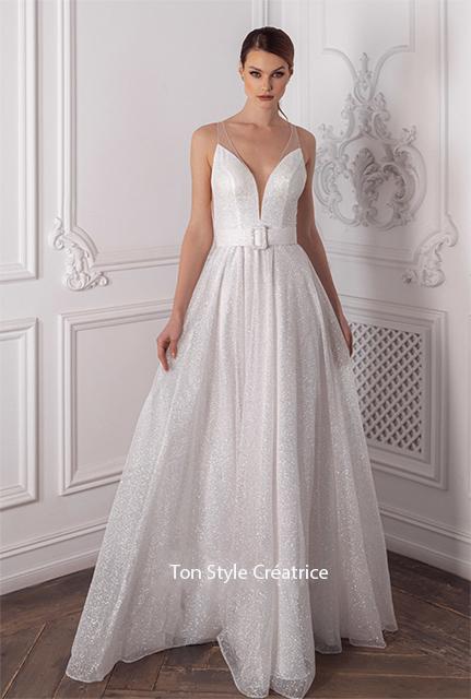Robe de mariée bohème pailleté