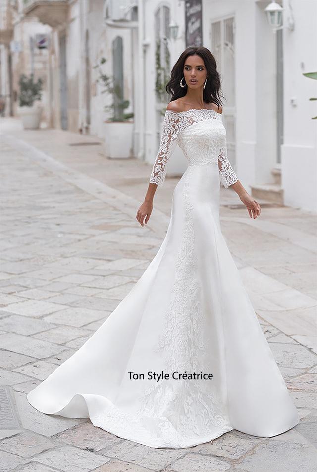 Robe de mariée près du corps en satin Gard